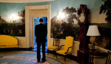President Barack Obama pauses during a moment of silence in the Diplomatic Reception Room of the White House at 8:46 AM, September 11, 2010.