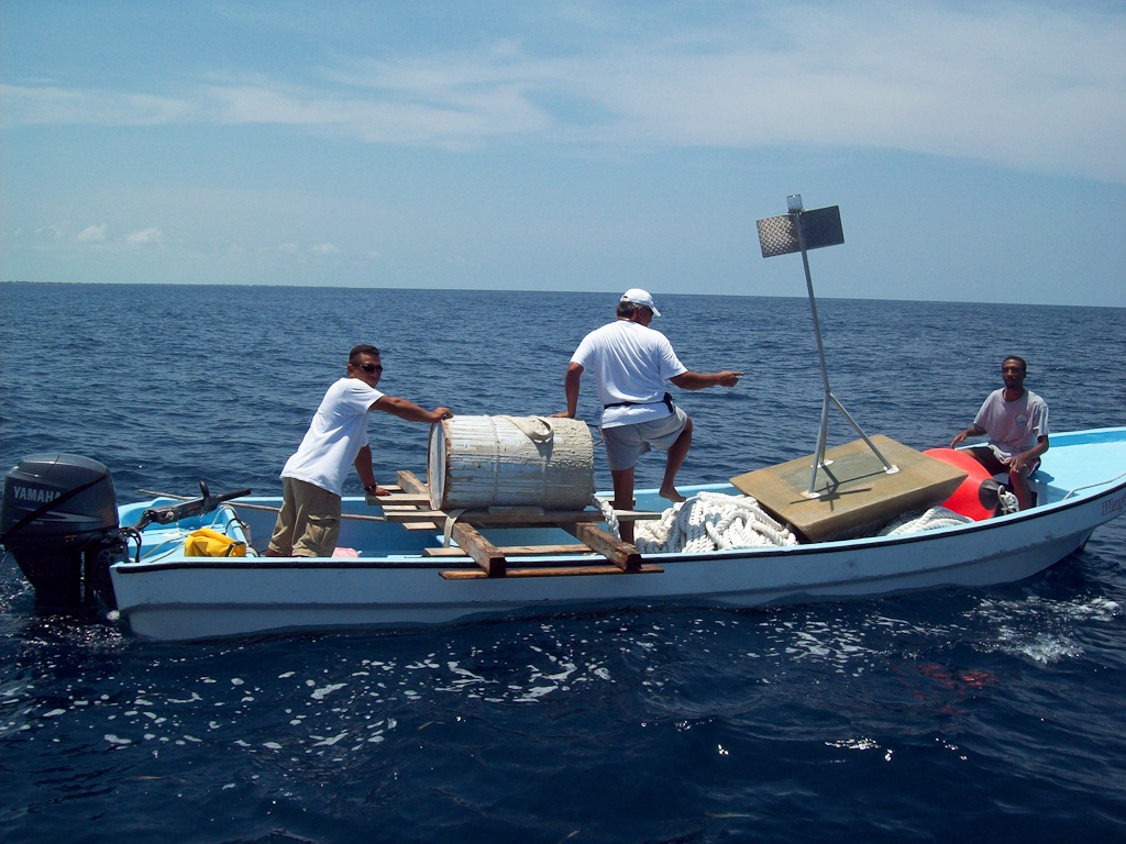 Fish aggregating device placed in offshore ambergris caye for Fish aggregating device