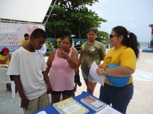 Belize Down Syndrome Association shares  information with attendees at Caye Caulker Health Fair