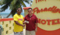 Mr. Ramon Reyes Sr. of Tropical Paradise in Caye Caulker Presents donation to Dennis Craft, Chair of the NAC Island Committee (Photo 6 of 10 photo(s)).