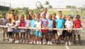 Mayor Lopez and Children on Hill Top Tennis Court (Photo 1 of 5 photo(s)).