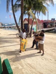Jaguar hide seller on the beach