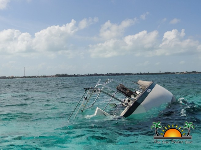 Sailboat Stranded Reef Ambergris Caye-1