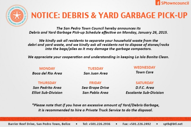 YARD AND DEBRIS GARBAGE 2015 SCHEDULE