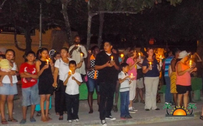 Candle Light Vigil through the street of San Ignacio Town