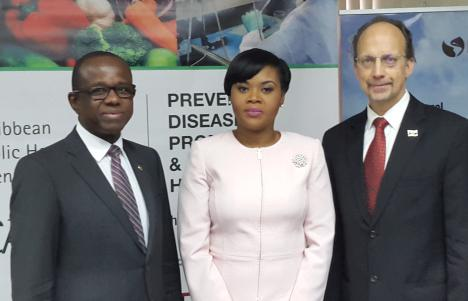 (L-R) Secretary General of the CTO, Hugh Riley; Shamfa Cudjoe, Trinidad and Tobago Minister of Tourism; Dr James Hospedales, Executive Director of the Caribbean Public Health Agency (CARPHA)