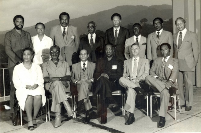 Prime Minister of Belize, the Hon. George Price (Standing, second from left) among CARICOM Heads of Government at their Eighth Summit