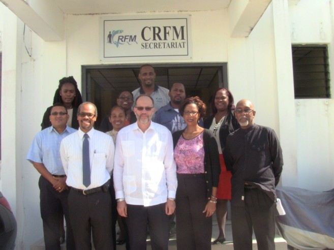CARICOM Secretary-General, Ambassador Irwin LaRocque, with staff members at the CRFM Secretariat earlier this year. He is flanked by CRFM Executive Director, Mr. Milton Haughton, and Chef de Cabinet, CARICOM Secretariat, Ms. Glenda Itiaba.