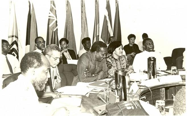 Dr. Carla Barnett, then CARICOM Deputy Secretary-General, is flanked by CARICOM Secretary-General Sir Edwin Carrington (left) and the Hon. Carl Greenidge, then Minister of Finance, Guyana (right).