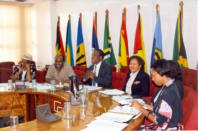 Dr. Carla Barnett, fourth from left, in her capacity as Deputy Secretary-General attends a Community Meeting at the CARICOM Secretariat in Georgetown, Guyana. Also in photograph are, from left, Ms Desiree Field-Ridley, Adviser, Single Market and Sectoral Programmes, Mr. Byron Blake, then Assistant Secretary-General, Trade and Economic Integration, Sir Edwin Carrington, then CARICOM Secretary-General, and Ms. Glenda Itiaba, Chef de Cabinet, Office of the Secretary-General, CARICOM Secretariat.