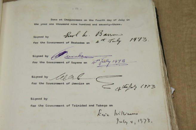 The signatures of the Founding Fathers of the Caribbean Community