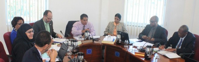 New Belize Ambassador to CARICOM, His Excellency Daniel Gutierez (centre), chairs a Meeting of the Committee of Ambassadors, January 2016, at the CARICOM Secretariat