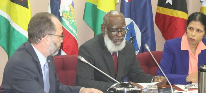 CARICOM Secretary-General, Ambassador Irwin LaRocque, Belize Minister of Foreign Affairs, and Chair of Community Council of Ministers, the Hon. Wilfred Elrington, and CARICOM Deputy Secretary-General, Ambassador Manorma Soeknandan, Ph.D, at the 37th Meeting of Community Council held in Georgetown, Guyana, January, 2016.