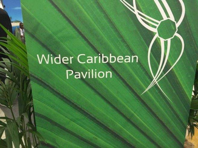 The Wider Caribbean Pavilion at Cop 21 held in Paris, France in December 2015. The Pavilion was spearheaded by the CCCCC.
