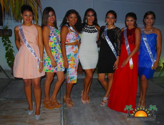 Left to right: Marisha Thompson, Beverly Rodriguez, Karina Requena Michelle Nunez (former Miss San Pedro 2014-2015), Lisandra Novelo, Marlene Diaz, Heidi Sorto